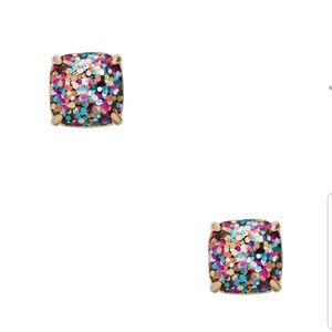 NWT Kate Spade multi-glitter square studs